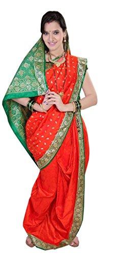 Aasri Poly Cotton Saree (Fhsf-Satinsmokbutta_Red Green)