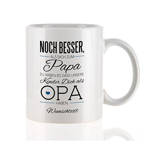 Herz & Heim moderne Kaffeetasse als Kompliment für den besten Opa mit Gratis Druck Ihres...