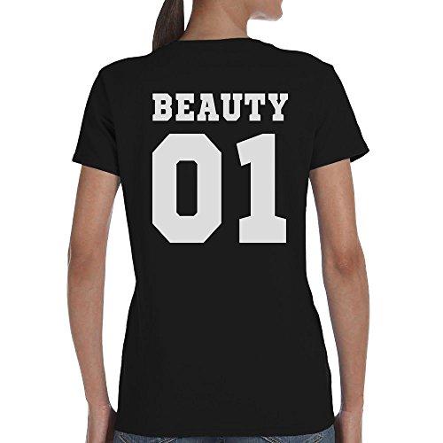 Pärchen T-Shirt Motiv Beauty & Beast Mit WUNSCHNUMMER T-Shirt Beauty/Schwarz