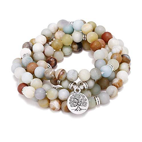 Homeyu 8mm opaco amazonite 108 mala beads collana/bracciale per uomo donna bracciale elastico preghiera buddista bracciale pietra preziosa naturale