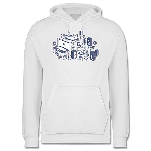 Nerds & Geeks - Netzwerk Design - Männer Premium Kapuzenpullover / Hoodie Weiß