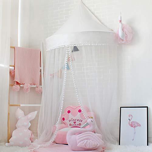 Lebze Babybett Baldachin, Kuppel Baumwoll Betthimmel Moskitonetz Insektenschutz für Baby Innen Lese Schlafzimmer Ankleidezimmer, Prinzessin Spielzelt für Kinder, Durchmesser 100cm