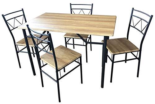 SF SAVINO FILIPPO Set Completo da Pranzo Cucina Tavolo con 4 posti sedie in Ferro Grigio e Metallo MDF colorazione Marrone Finto Legno per Interno Sala Veranda casa Portico