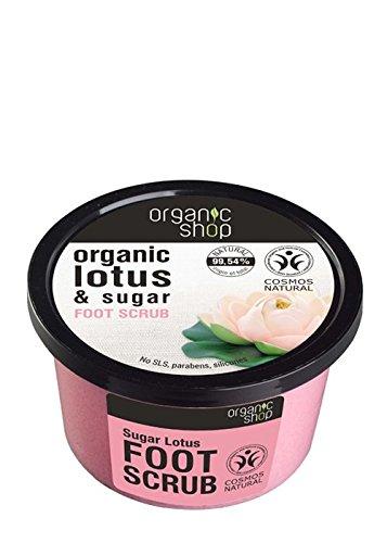 ORGANIC SHOP - Fußpeeling - Zucker und Lotus - Peeling-Behandlung für weiche und samtige Füße - Müdigkeit Relief - 99% natürlich - Certified Cosmos Natural - 250 Gr -