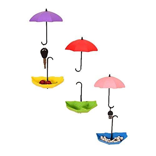 LAAT Satz von 6pcs Plastik Viskose Kleiderhaken Türhaken Kreativ Regenschirm Form Dekorative Haken für Hängende Mäntel Handtaschen 6 Farben