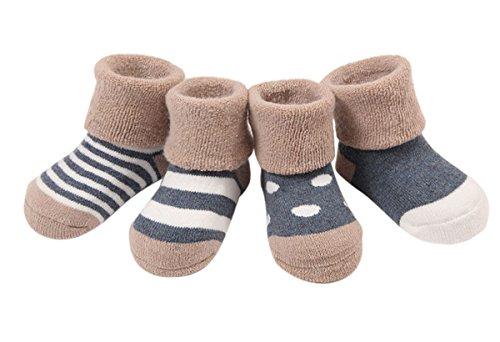 Happy Cherry 0-6 Monate Baby Socken 4 Paar Baumwolle Kindersocken Herbst Winter Dick Weich Socken mit verschiedenen Mustern (Baby-socken Niedliche)