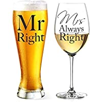 Mr Right and Mrs Always Right Beer and Wine Glass Set