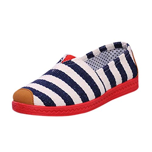 Espadrilles Flache Classic Stripes Canvas Damen Sommerlatschen Low Top Sommerlatschen Flache Ballerina Slip-on Segeltuchschuhe Slipper Sommerschuhe (Blau, 35) - Stripe Espadrille-sandale