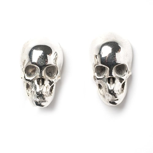 Sterling Silver 925 Skull Earstuds With Butterfly Backs