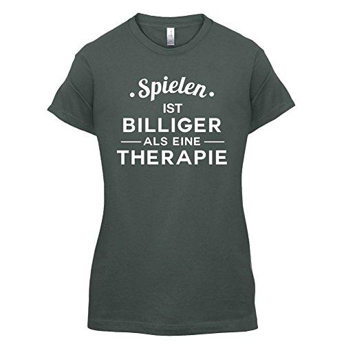 Spielen ist billiger als eine Therapie - Damen T-Shirt - 14 Farben Dunkelgrau