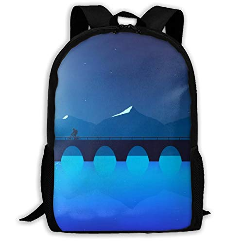 Blue Sea Under Moon Unisex Adult Unique Rucksack,School Casual Sports Book Bags,Durable Oxford Outdoor College Laptop Computer Shoulder Bags,Lightweight Travel Tagesrucksäcke