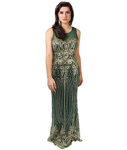 KRISP® Femmes Robes de Soirée Maxi Longue Elégantes en Mousseline Différents Modèles Vert bouteille (3523)