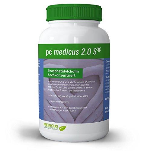 PC medicus® 2.0S mit 83% Phosphatidylcholin (Soja-Lecithin), bei chronisch entzündlichen Darmerkrankungen wie Morbus Crohn, Colitis Ulcerosa und Leaky Gut Syndrom, 180 Kapseln
