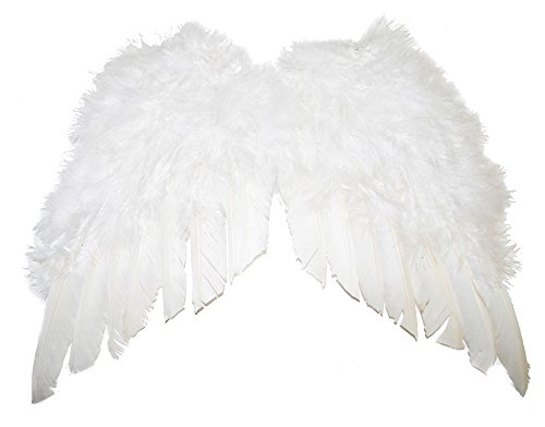Karabu Mini Engelsflügel in weißer Feder 35x32 - Gefallener Engel Kostüm Herren