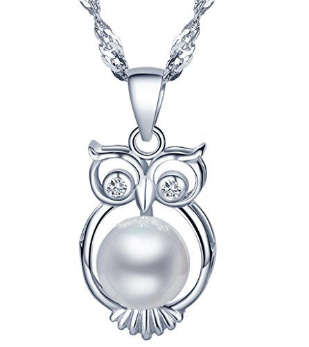 Yumilok, collana con ciondolo, in argento sterling 925, con perla e zirconia cubica, adatto per donne e ragazze