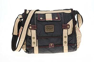 ELEPHANT Tasche KAMPEN Handtasche Messenger Umhängetasche gewachstes Nylon // SCHWARZ