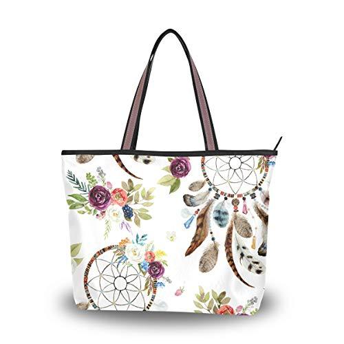 WowPrint - Bolsa de mano para mujer, diseño de atrapasueños, gran capacidad, para escuela, trabajo, viajes, compras, playa