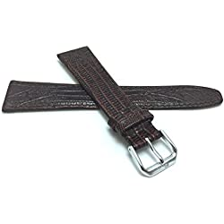 20mm, Brown Womens', Slim, Lizard Style, Genuine Leather Watch Band Strap, Also Comes in Black, Tan and Blue