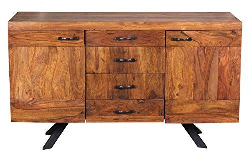 Wohnling WL1.366 Sheesham Massivholz Sideboard 145 x 45 x 82cm, Kommode, 2 Türen und 4 Schubladen - 3