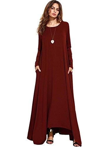 d32ab861d5810f NASKY Damen Sommerkleid Lange Kleider Ärmellos/Langärmliges Maxikleider mit  Taschen Casual (XX-Large