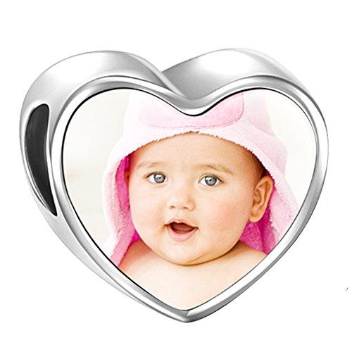 Soufeel Personalisiert Foto Charms Damen Bead Anhänger Baby Fußabdrücke 925 Sterling Silber Geschenk für Damen - Charm Girl Baby Sterling Silber