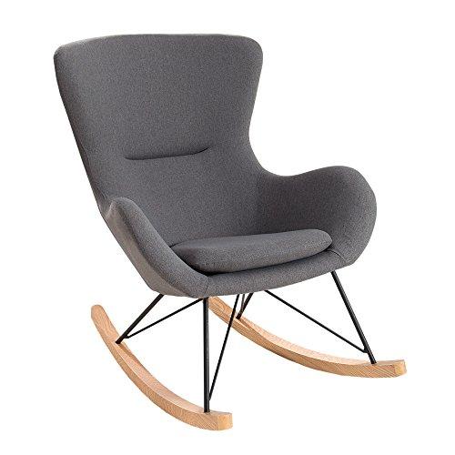 Gepolsterte Schaukelstuhl (Design Schaukelstuhl SCANDINAVIA SWING Stoff dunkelgrau Schaukelsessel Sessel Stuhl Wohnzimmersessel)