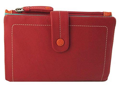 """Visconti portafoglio di pelle da donna a piegatura doppia """"Mimi"""" multicolore (M87): rosso (red multi)"""