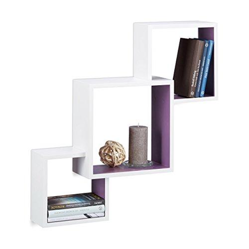 Relaxdays 10021804_749 mensole da parete a forma di cubo, pensili, grandi, mdf, hxlxp: 66x66x15 cm, bianco-viola