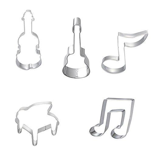 zhouba 5PCS Music Note Geige Gitarre Kuchen Form DIY Kekse Käse Cookie Cutter Form, edelstahl, silber, Einheitsgröße