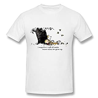 Treask Aplus Men's Calvin and Hobbes Quote White T Shirt