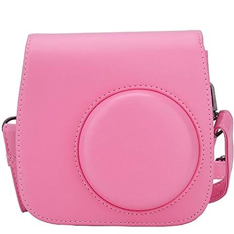 [Fujifilm Instax Mini 8/ Mini 9 Tasche] - ZWOOS Reise Kameratasche Gehäuse Taschen mit Schultergurt/Weinlese PU Leder für Fujifilm Instax Mini 8/ Mini 8S/ Mini 9 Tasche(flamingo rosa)