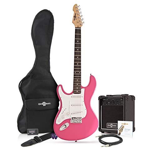 Guitarra Electrica LA Zurda + Paquete de Amplificador de 10 W Rosa