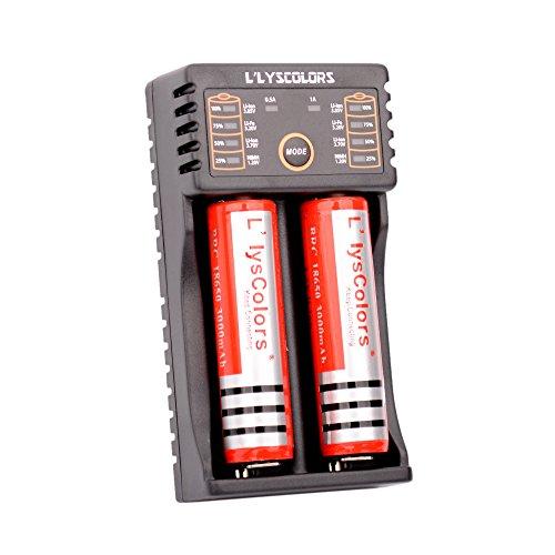 Galleria fotografica L'lysColors LII-202 Caricabatterie USB Intelligente Più 2 pezzi di 18650 agli ioni di litio ricaricabile (con Circuito protetto), Caricabatterie compatibile per Pile ricaricabili Ni-MH, Ni-Cd, AA, AAA, A, SC e 18650, 26650, 16340 (RCR123),14500