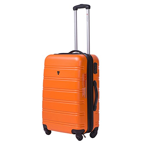 Travelhouse ABS Hard shell 4 wheel Travel Trolley Suitcase Luggage set Holdall Case Cablin (3 PCS, Orange)