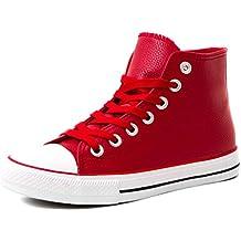 Marimo Klassische Unisex Damen Herren Schuhe High Top Sneaker Turnschuhe in  Lederoptik 51677d5311