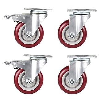 GBL – 4 Ruedas Giratorias de Goma, 125mm 800KG Ruedas para Muebles, Rueda Pivotantes, Ruedas de Freno Industrial Con Placa de Montaje