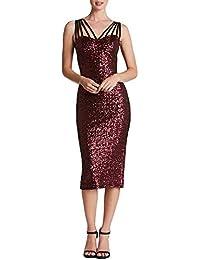 b5465d34b75c Guiran Donna Vestito Paillettes Elegante Senza Maniche Abito Bodycon  Cerimonia Club Rosso Scuro XL