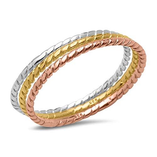 Dreiteiliges Ring-Set 925er Silber tricolor SR0330