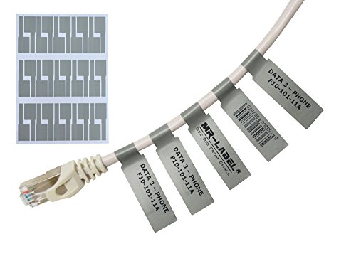Marker Ethernet-kabel (Mr-Label® Selbstklebend Kabeletikett - Wasserdicht | Reißfest | Haltbar - mit Frei Online Drucken Werkzeug (20 Blatt, 600 Labels, grau))