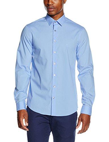 Calvin Klein Herren Businesshemd Bari Slim Fit FTC, Blau (Light Blue 455), Kragenweite: 42 cm (Langarm Hemd Klein Calvin)