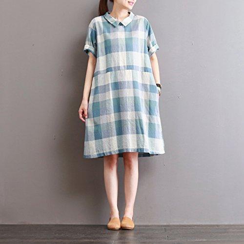 mittlerer länge karierten hemd kragen, kurzärmeliges kleid wathet
