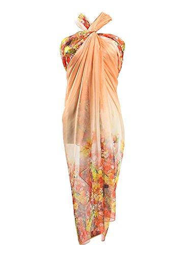 PB-SOAR XXL Damen Sarong Pareo Strandtuch Wickelrock Wickeltuch Schal Halstuch mit Blumenmuster, weich und leicht (Orange Lachs)
