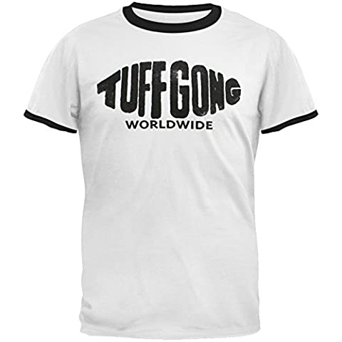 Bob Marley-Tuff Gong Ringer T-Shirt pour adulte - Blanc - X-Large