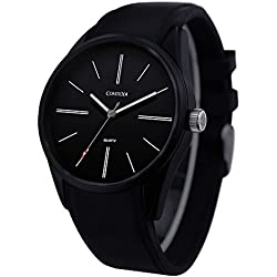 COMTEX Men's Quartz Watch with Black Dial Analog Display and Silicone Band Simple Sports Wrist Watch