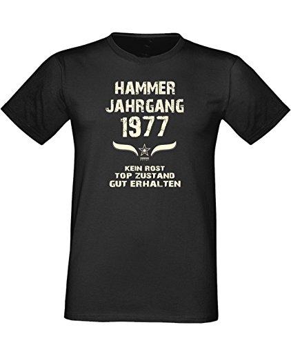 Sprüche Fun T-Shirt Jubiläums-Geschenk zum 40. Geburtstag Hammer Jahrgang 1977 Farbe: schwarz blau rot grün braun auch in Übergrößen 3XL, 4XL, 5XL schwarz-01