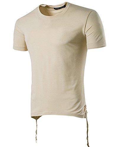 Herren Hip-Hop T-Shirt Kurzarm Slim Fit Mit Rundhals Kaki
