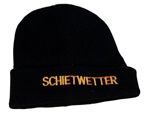 Maritime Strickmütze Mütze mit Schriftzug 'Schietwetter' schwarz One Size