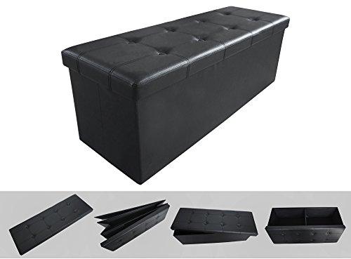 Todeco - Almacenamiento Banco, Almacenamiento Otomano Plegable de Cuero - Carga máxima: 150 kg - Material: Imitación de cuero - Acabado cosido y copetudo, 110 x 38 x 38 cm, Negro