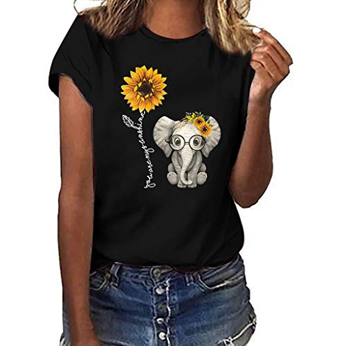 Wawer Frauen Mädchen Plus Size Sonnenblumen-Elefanten-Print Kurzarm T-Shirt Bluse Tops, Damen Kurzarm Lässige T-Shirt Casual Sommer Lose Shirt Bluse Oberteile -