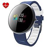 LATITOP Smart Fitness Tracker Uhr mit Herzfrequenz Monitor und Blutdruckmessgerät, 2.5D Farbe Bildschirm Wasserdicht IP67Activity Tracker mit Schrittzähler, Kalorienzähler, Sleep Monitor S Blau